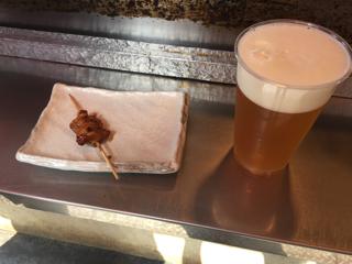 ビールと食べかけ串