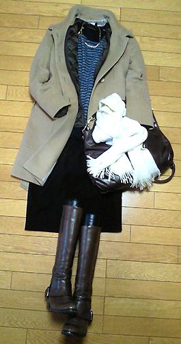 買ったばかりの「バーンヤードストーム」のボーダーニットを着てみた