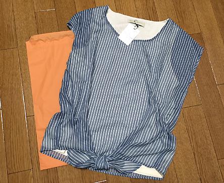 久々に買った服はストライプの半袖ブラウスでした