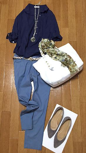 紺シャツ&水色パンツの組み合わせが結構良かった!