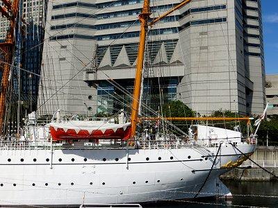 白い船体が朝陽に映える日本丸downsize