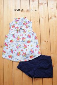 女の子100花柄ノースリーブ紺色ブルマ