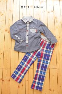 男の子110グレーシャツ赤青ズボン
