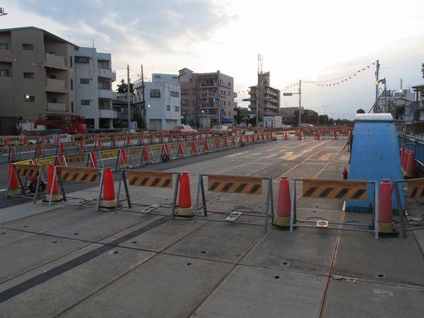 A線側の作業帯は工事終了に伴い機材がなくなった。