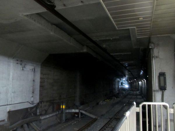 千川駅のホーム端からB線和光市方面を見る。A線側と同様、トンネル天井が切り抜かれている。