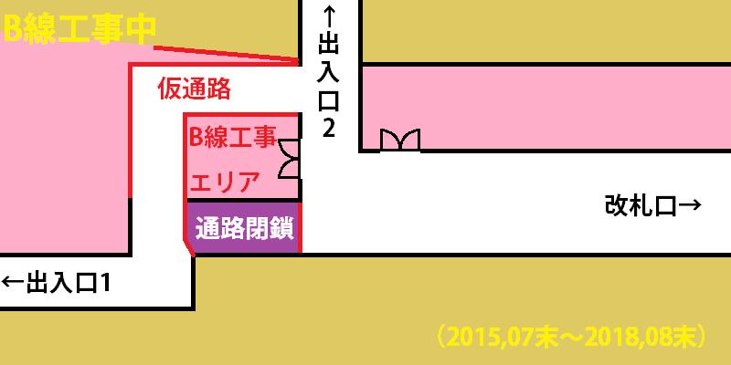 千川駅1番出入口通路の変更イメージ。