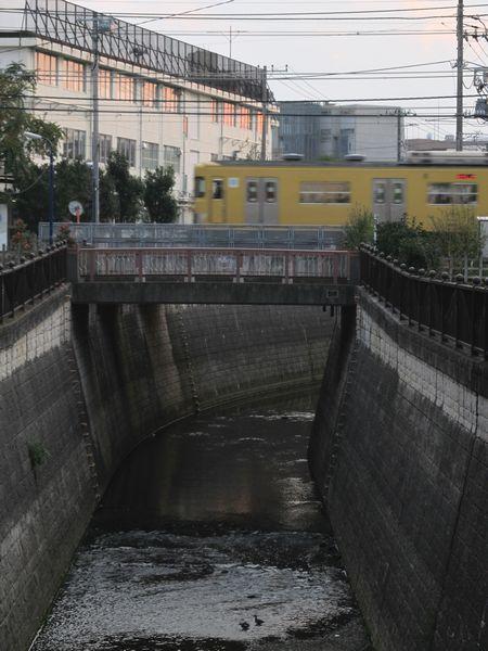 新井薬師前~沼袋間で交差する第四妙正寺川橋梁。