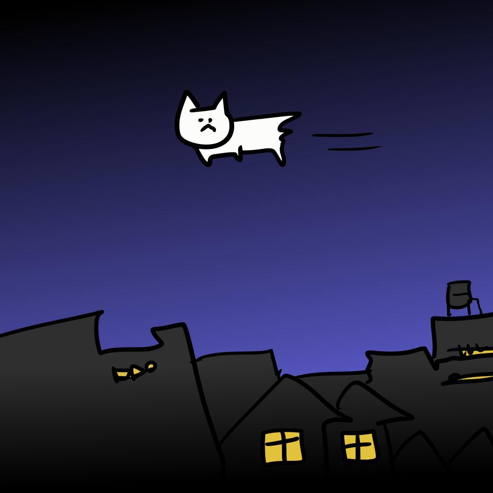 夜空に浮かぶ猫