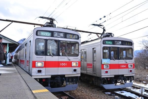 2015年1月31日 上田電鉄別所線 下之郷 1000系1001/1004編成
