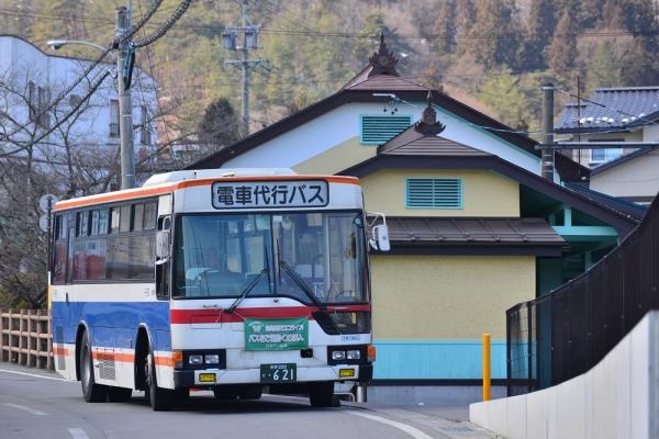 2015年3月2日 上田電鉄別所線 別所温泉 列車代行バス充当車 上田バスF-937号車