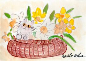 ラッパ水仙と白いペルシャ猫