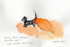 小桜インコのジュディア 木猫のポーナ