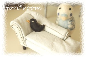 小鳥革製クッション
