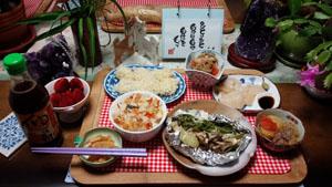 晩ご飯 鮭ホイル焼き 鮭ご飯 ホタテ刺身