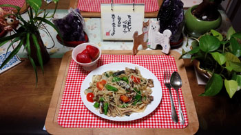 春野菜とサーデンパスタ