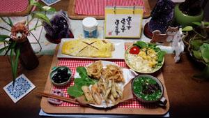 晩ご飯 天ぷら・オムそば