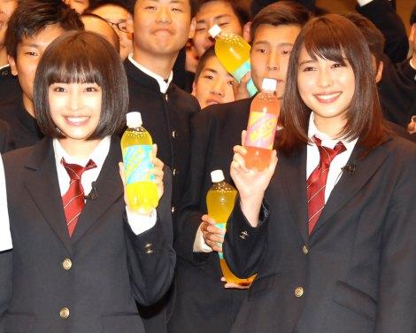 広瀬アリス&すず姉妹が男子校にサプライズ登場、「かわいい」と生徒歓喜…炭酸飲料「マッチ」新CM発表会3