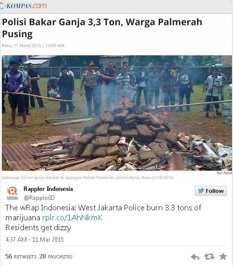 ジャカルタ警察が押収した3.3トンものマリファナを焼却 街中がハイに苦情殺到