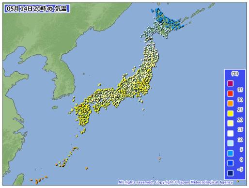 20150514_20時気温全国