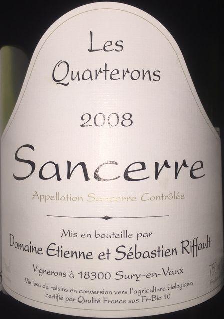 Sancerre Les Quarterons Domaine Etienne et Sebastien Riffault 2008