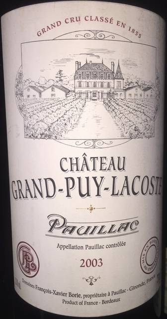 Chateau Grand Puy Lacoste Pauillac 2003