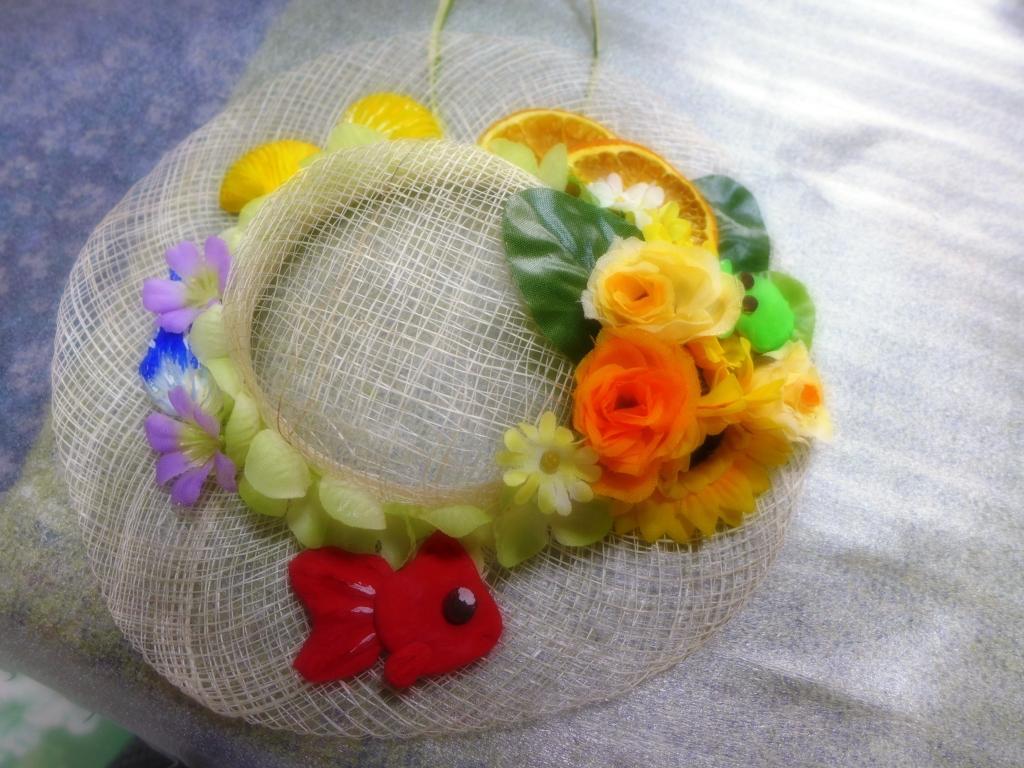 夏色まぶしいシナマイ帽子のリース
