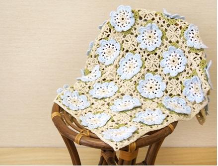 無料編み図レシピ赤ちゃんベビーあみもねっとコットン花モチーフブランケット