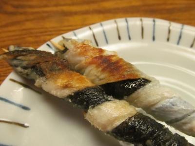 マコガレイの皮串焼きアップ2