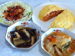 150331_2971鶏のスィートリチソース炒め・キャベツとカニカマのオムレツ・茄子とうすあげの煮浸し・野菜の火鍋VGA