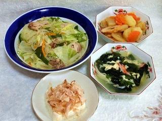 150424_3055野菜のガーリック炒め・肉じゃが風煮物・ワカメ&卵スープ・冷奴VGA