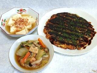 150508_3091湯豆腐・お好み焼きx3・野菜とシーフードのあんかけ鍋一杯VGA